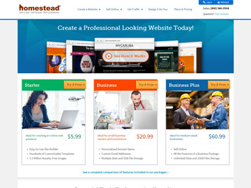 Homestead homepage.